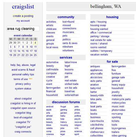 Craigs List Deals for Area Rug Cleaning in Bellingham WA