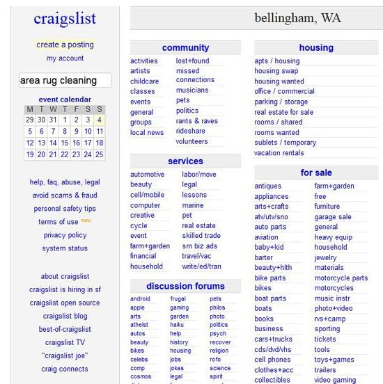 Screenshot of CraigsList Bellingham Page